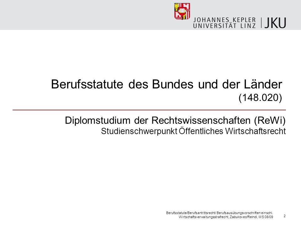 Berufsstatute des Bundes und der Länder (148.020) Diplomstudium der Rechtswissenschaften (ReWi) Studienschwerpunkt Öffentliches Wirtschaftsrecht Beruf