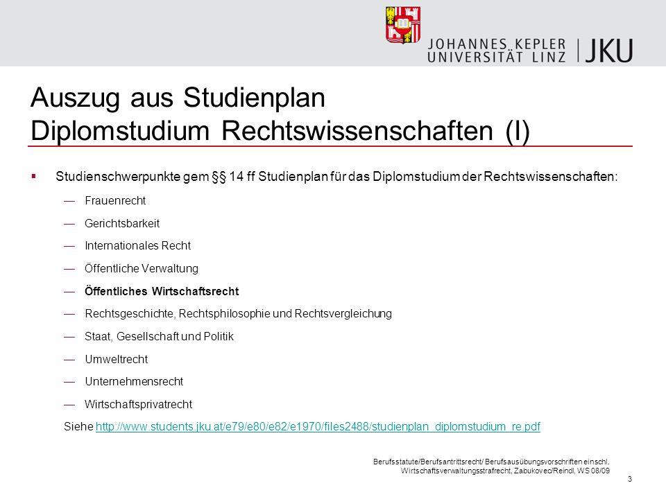 3 Auszug aus Studienplan Diplomstudium Rechtswissenschaften (I) Studienschwerpunkte gem §§ 14 ff Studienplan für das Diplomstudium der Rechtswissensch