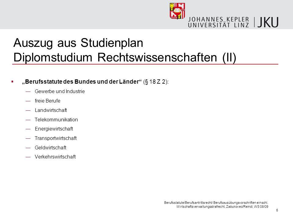 5 Berufsstatute/Berufsantrittsrecht/ Berufsausübungsvorschriften einschl. Wirtschaftsverwaltungsstrafrecht, Zabukovec/Reindl, WS 08/09 Auszug aus Stud