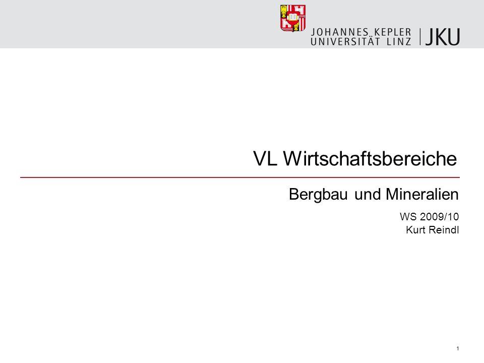 VL Wirtschaftsbereiche Bergbau und Mineralien WS 2009/10 Kurt Reindl 1