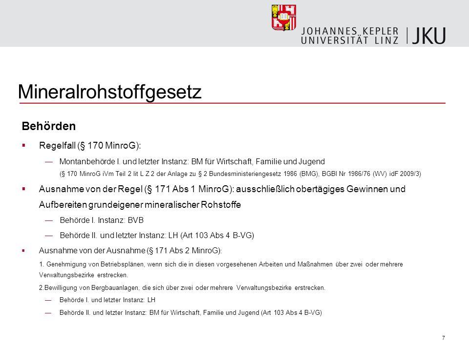 7 Mineralrohstoffgesetz Behörden Regelfall (§ 170 MinroG): Montanbehörde I.