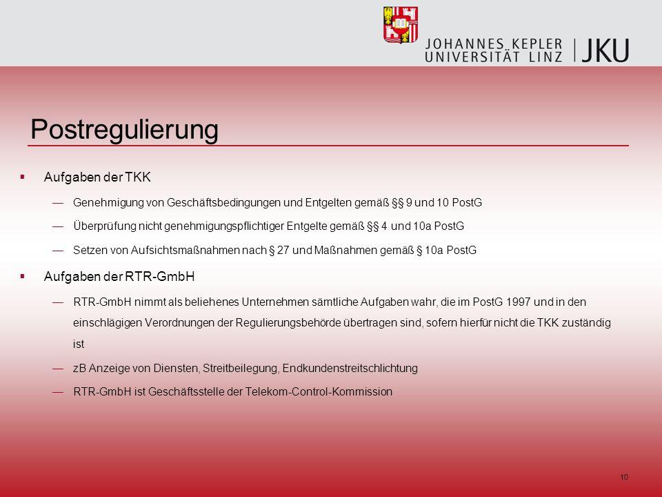 10 Postregulierung Aufgaben der TKK Genehmigung von Geschäftsbedingungen und Entgelten gemäß §§ 9 und 10 PostG Überprüfung nicht genehmigungspflichtiger Entgelte gemäß §§ 4 und 10a PostG Setzen von Aufsichtsmaßnahmen nach § 27 und Maßnahmen gemäß § 10a PostG Aufgaben der RTR-GmbH RTR-GmbH nimmt als beliehenes Unternehmen sämtliche Aufgaben wahr, die im PostG 1997 und in den einschlägigen Verordnungen der Regulierungsbehörde übertragen sind, sofern hierfür nicht die TKK zuständig ist zB Anzeige von Diensten, Streitbeilegung, Endkundenstreitschlichtung RTR-GmbH ist Geschäftsstelle der Telekom-Control-Kommission