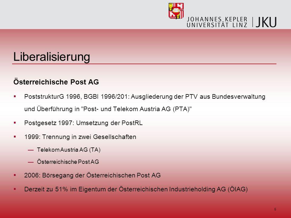 5 Liberalisierung Österreichische Post AG PoststrukturG 1996, BGBl 1996/201: Ausgliederung der PTV aus Bundesverwaltung und Überführung in Post- und Telekom Austria AG (PTA) Postgesetz 1997: Umsetzung der PostRL 1999: Trennung in zwei Gesellschaften Telekom Austria AG (TA) Österreichische Post AG 2006: Börsegang der Österreichischen Post AG Derzeit zu 51% im Eigentum der Österreichischen Industrieholding AG (ÖIAG)