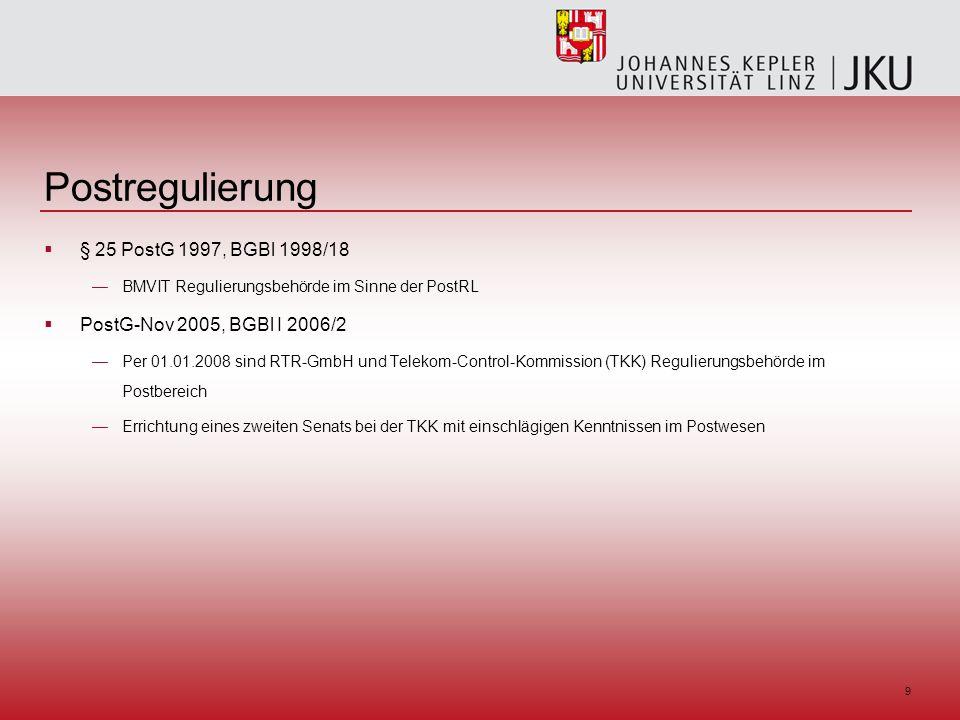 9 Postregulierung § 25 PostG 1997, BGBl 1998/18 BMVIT Regulierungsbehörde im Sinne der PostRL PostG-Nov 2005, BGBl I 2006/2 Per 01.01.2008 sind RTR-GmbH und Telekom-Control-Kommission (TKK) Regulierungsbehörde im Postbereich Errichtung eines zweiten Senats bei der TKK mit einschlägigen Kenntnissen im Postwesen