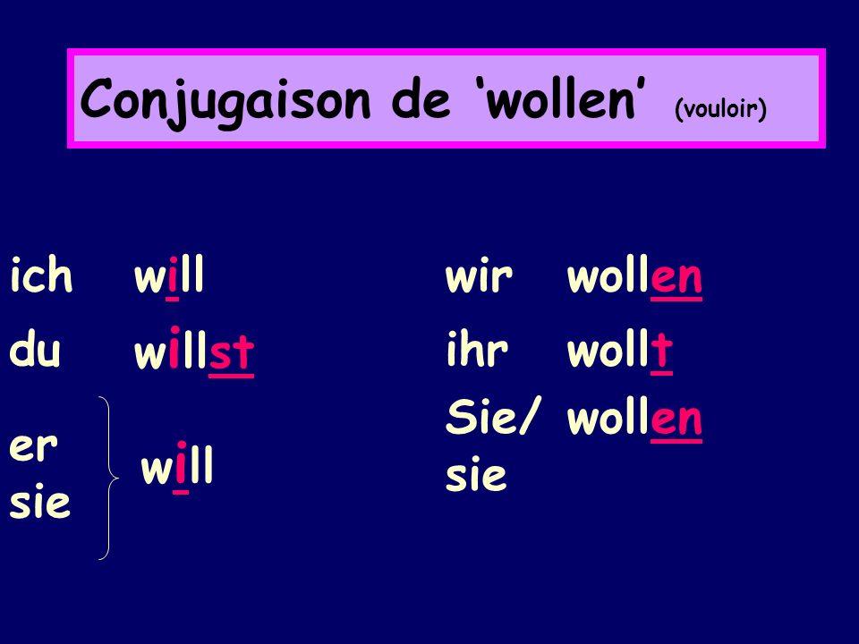 Conjugaison de wollen (vouloir) ich will du w i llst er sie w i ll wir wollen ihr wollt Sie/ sie wollen