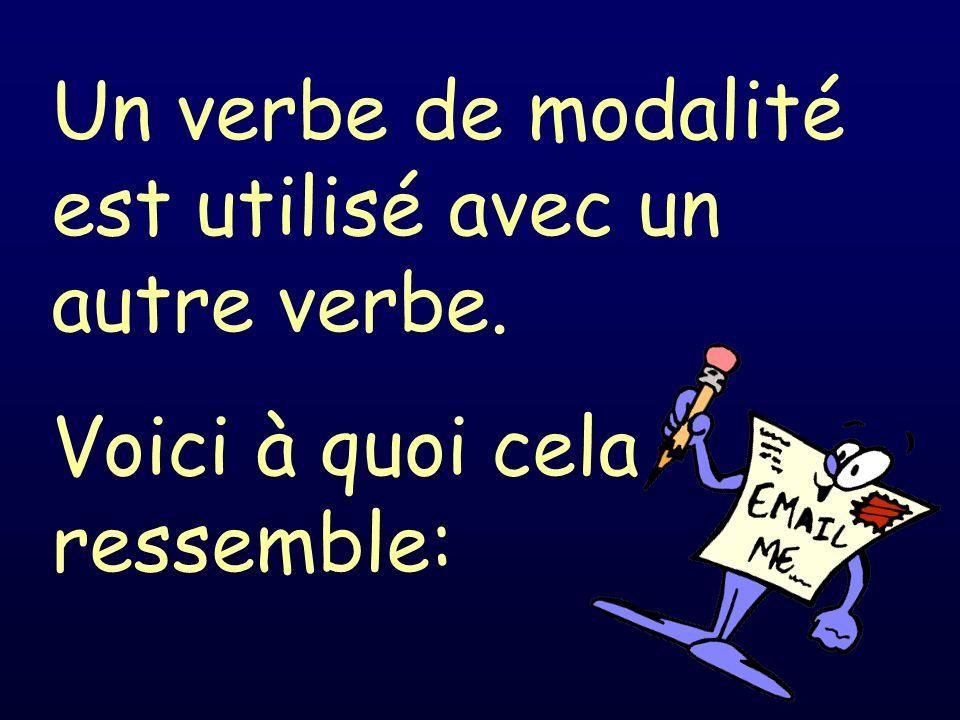 Un verbe de modalité est utilisé avec un autre verbe. Voici à quoi cela ressemble:
