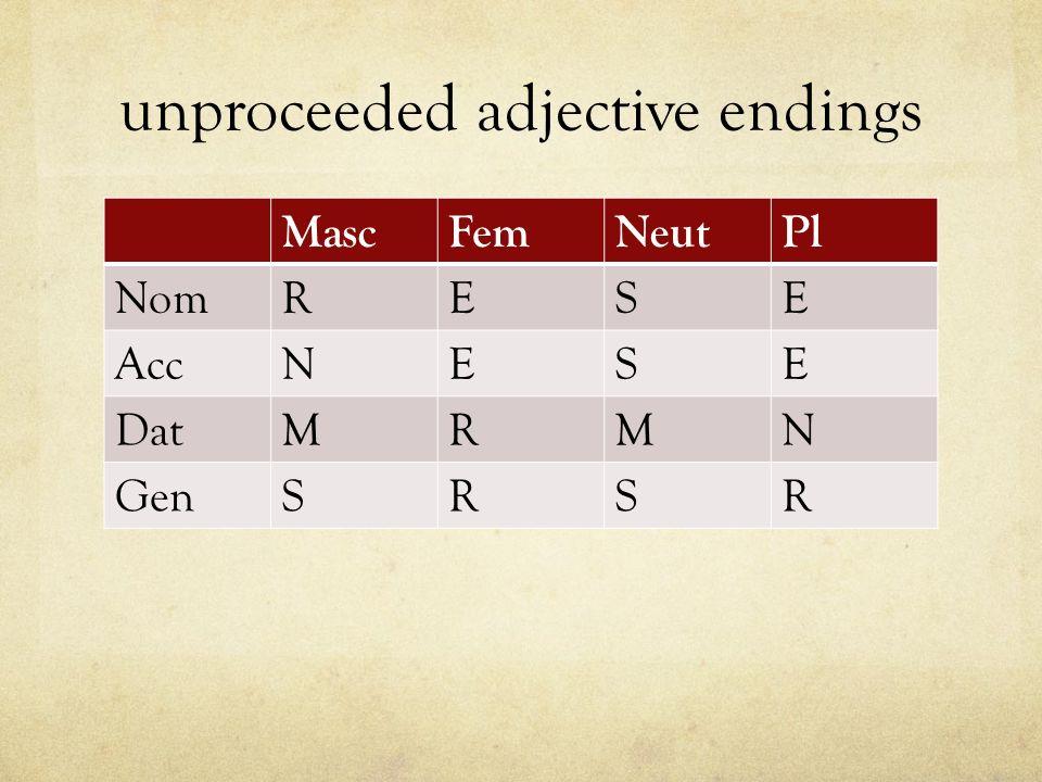 unproceeded adjective endings MascFemNeutPl NomRESE AccNESE DatMRMN GenSRSR