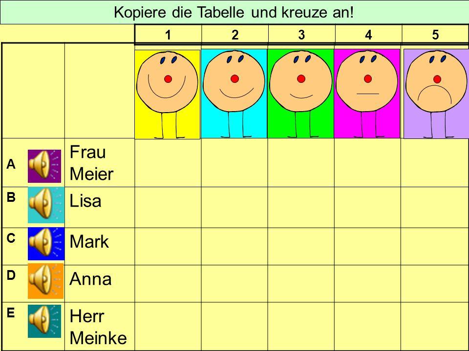 A Frau Meier B Lisa C Mark D Anna E Herr Meinke Kopiere die Tabelle und kreuze an! 12345
