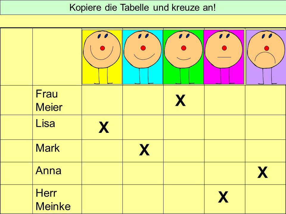 Frau Meier Lisa Mark Anna Herr Meinke Kopiere die Tabelle und kreuze an! X X X X X