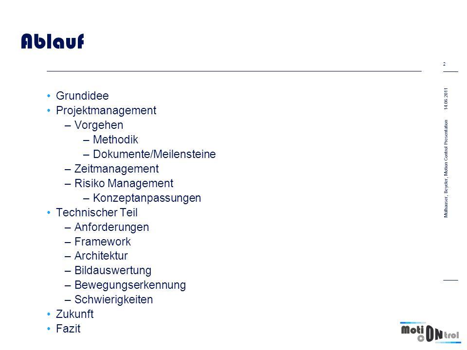 2 Mülhauser, Beyeler, Motion Control Presentation Ablauf Grundidee Projektmanagement –Vorgehen –Methodik –Dokumente/Meilensteine –Zeitmanagement –Risi