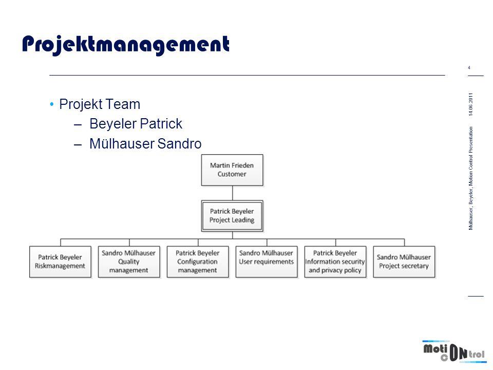Projektmanagement Projekt Team –Beyeler Patrick –Mülhauser Sandro Vorgegebener Zeitrahmen –2.