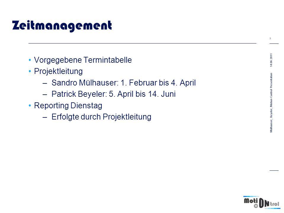 Zeitmanagement Vorgegebene Termintabelle Projektleitung –Sandro Mülhauser: 1. Februar bis 4. April –Patrick Beyeler: 5. April bis 14. Juni Reporting D