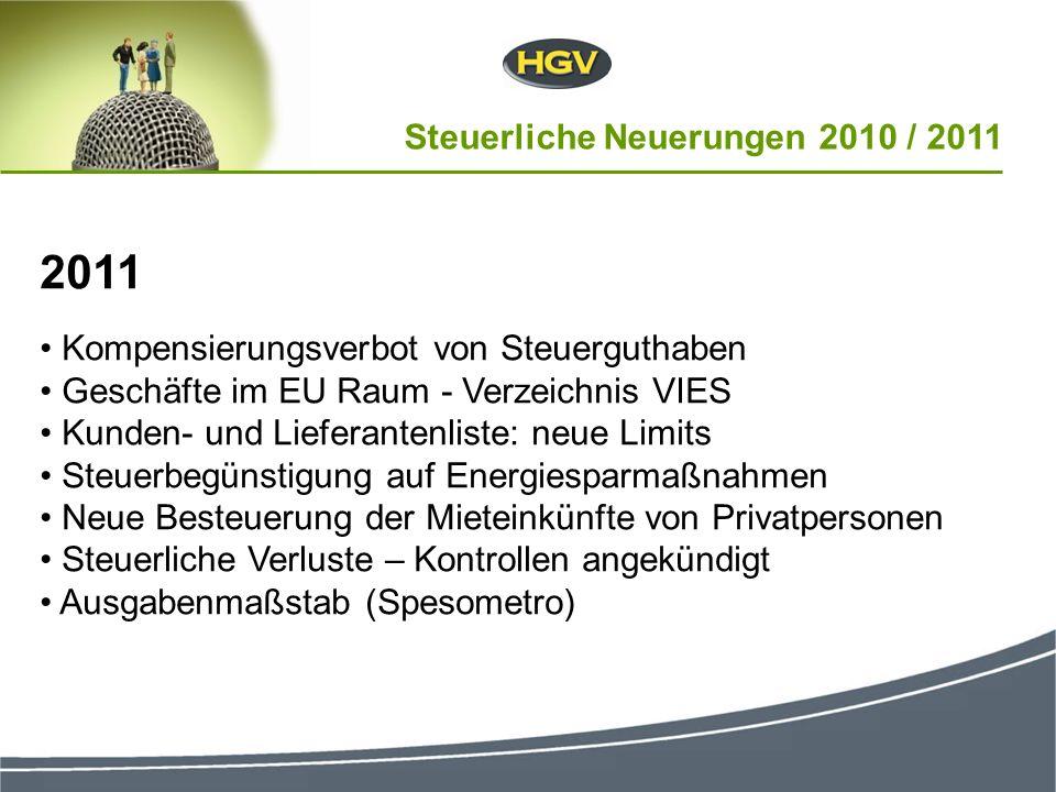 2011 Kompensierungsverbot von Steuerguthaben Geschäfte im EU Raum - Verzeichnis VIES Kunden- und Lieferantenliste: neue Limits Steuerbegünstigung auf