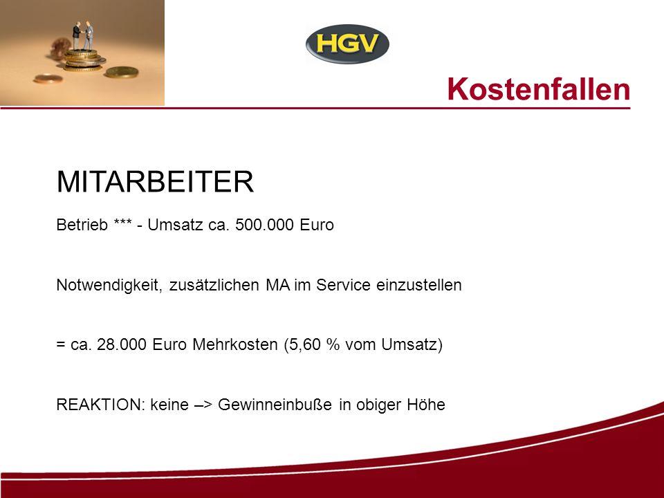 Kostenfallen MITARBEITER Betrieb *** - Umsatz ca. 500.000 Euro Notwendigkeit, zusätzlichen MA im Service einzustellen = ca. 28.000 Euro Mehrkosten (5,