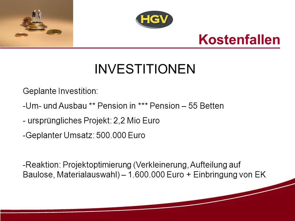 Kostenfallen INVESTITIONEN Geplante Investition: -Um- und Ausbau ** Pension in *** Pension – 55 Betten - ursprüngliches Projekt: 2,2 Mio Euro -Geplant