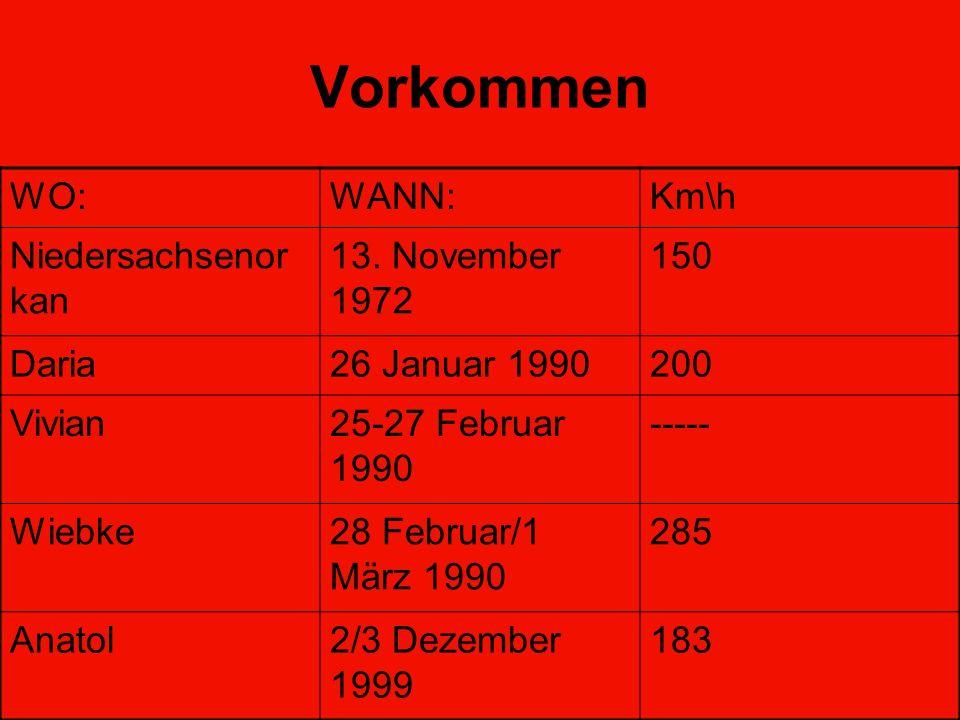 Vorkommen WO:WANN:Km\h Niedersachsenor kan 13. November 1972 150 Daria26 Januar 1990200 Vivian25-27 Februar 1990 ----- Wiebke28 Februar/1 März 1990 28