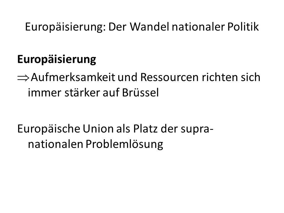 Europäisierung: Der Wandel nationaler Politik Europäisierung Aufmerksamkeit und Ressourcen richten sich immer stärker auf Brüssel Europäische Union als Platz der supra- nationalen Problemlösung