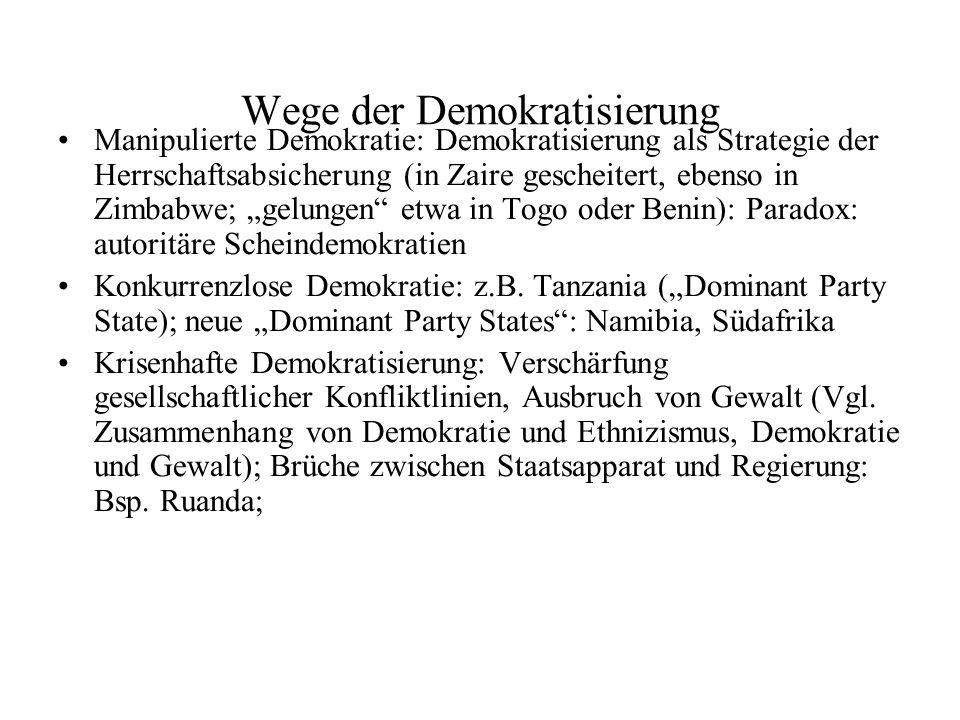 Wege der Demokratisierung Manipulierte Demokratie: Demokratisierung als Strategie der Herrschaftsabsicherung (in Zaire gescheitert, ebenso in Zimbabwe; gelungen etwa in Togo oder Benin): Paradox: autoritäre Scheindemokratien Konkurrenzlose Demokratie: z.B.
