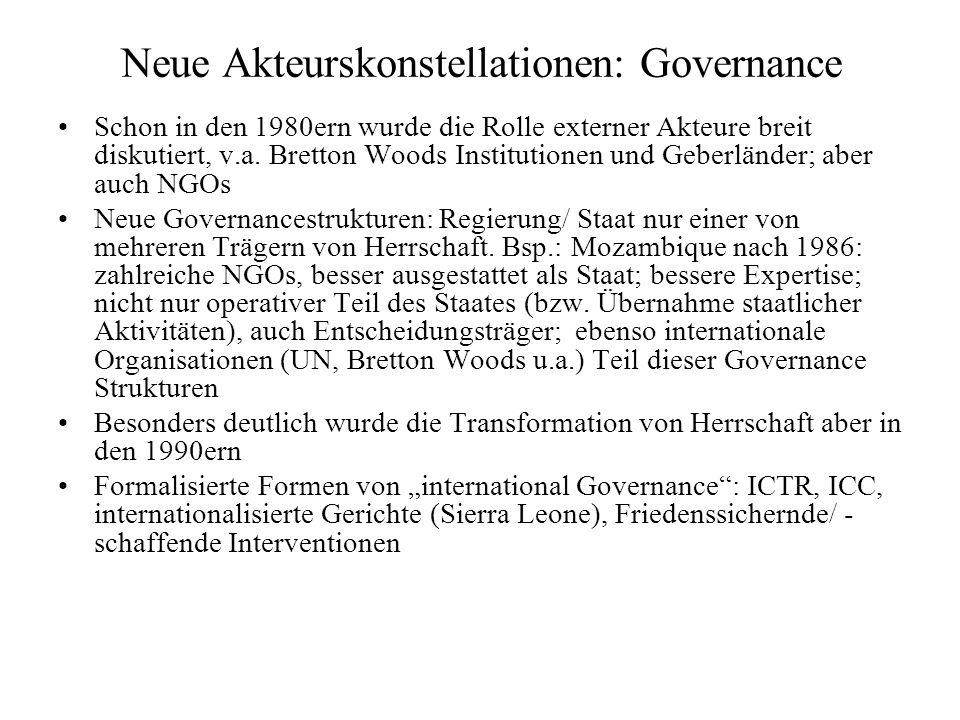 Neue Akteurskonstellationen: Governance Schon in den 1980ern wurde die Rolle externer Akteure breit diskutiert, v.a.