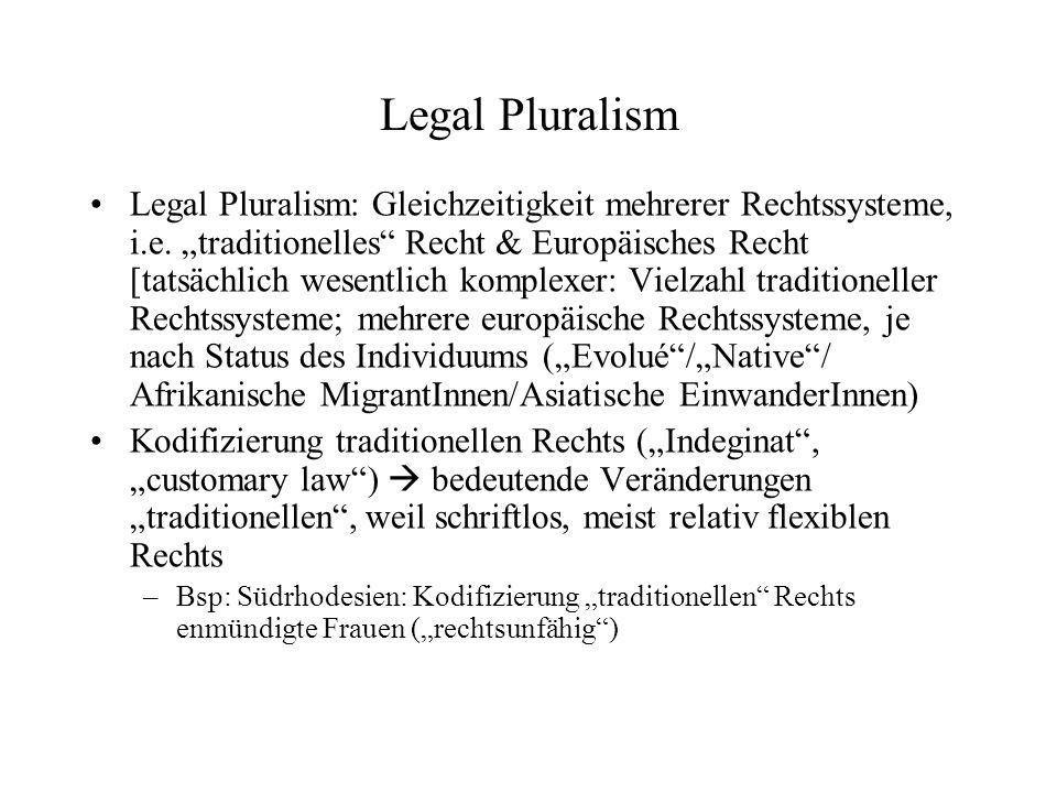 Legal Pluralism Legal Pluralism: Gleichzeitigkeit mehrerer Rechtssysteme, i.e.