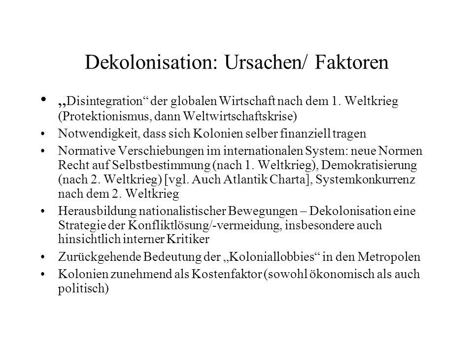 Dekolonisation: Ursachen/ Faktoren Disintegration der globalen Wirtschaft nach dem 1.