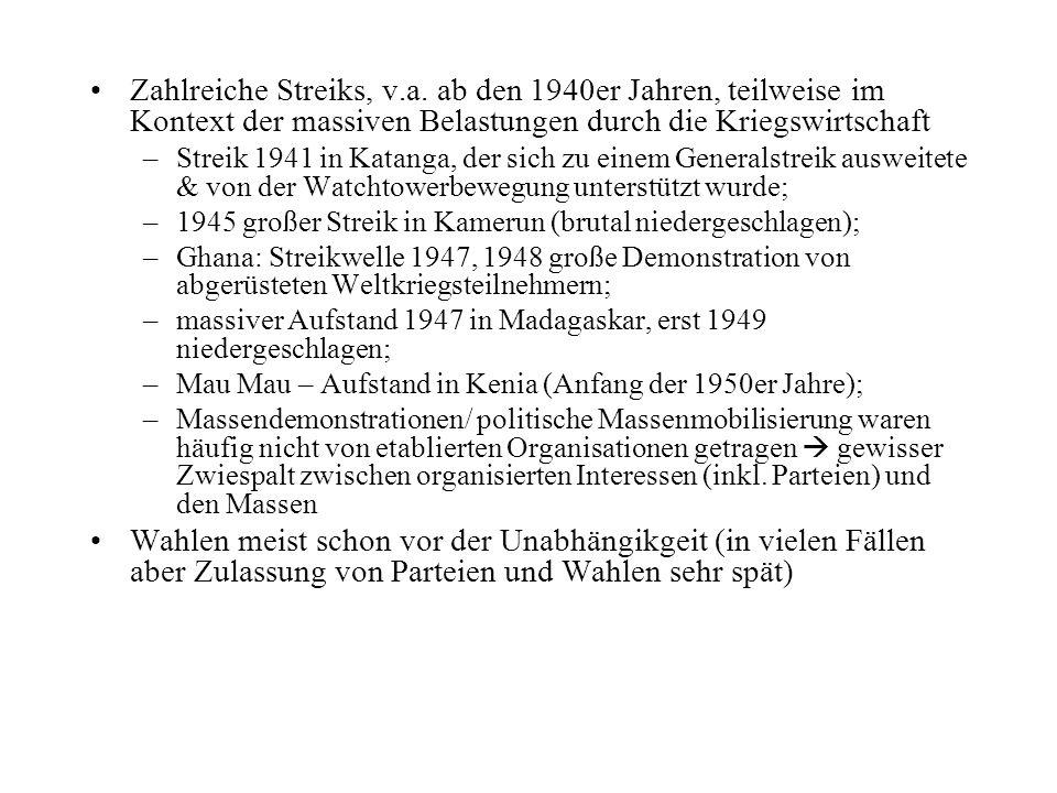 Zahlreiche Streiks, v.a.