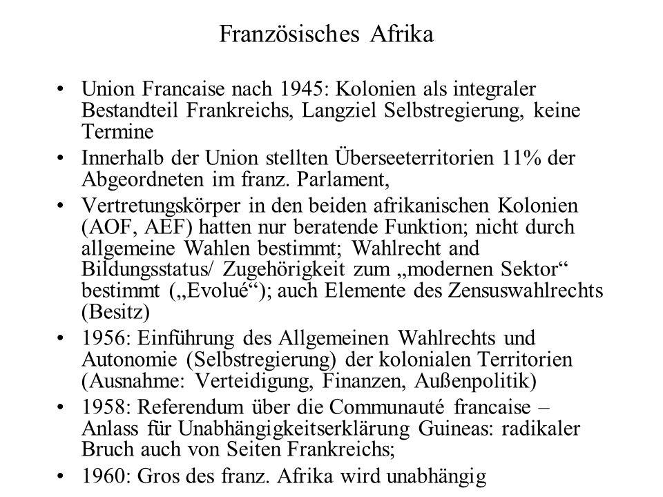 Union Francaise nach 1945: Kolonien als integraler Bestandteil Frankreichs, Langziel Selbstregierung, keine Termine Innerhalb der Union stellten Überseeterritorien 11% der Abgeordneten im franz.