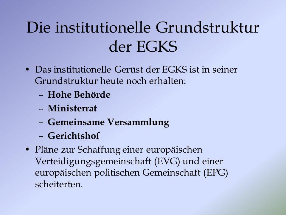Die institutionelle Grundstruktur der EGKS Das institutionelle Gerüst der EGKS ist in seiner Grundstruktur heute noch erhalten: – Hohe Behörde – Minis
