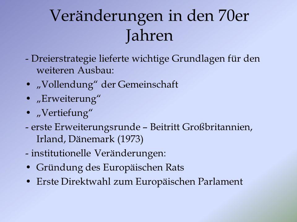 Veränderungen in den 70er Jahren - Dreierstrategie lieferte wichtige Grundlagen für den weiteren Ausbau: Vollendung der Gemeinschaft Erweiterung Verti