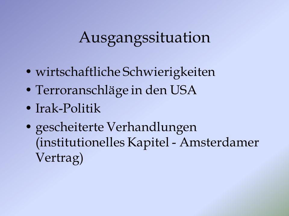 Ausgangssituation wirtschaftliche Schwierigkeiten Terroranschläge in den USA Irak-Politik gescheiterte Verhandlungen (institutionelles Kapitel - Amsterdamer Vertrag)