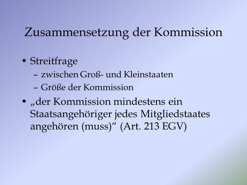 Zusammensetzung der Kommission Streitfrage –zwischen Groß- und Kleinstaaten –Größe der Kommission der Kommission mindestens ein Staatsangehöriger jedes Mitgliedstaates angehören (muss) (Art.