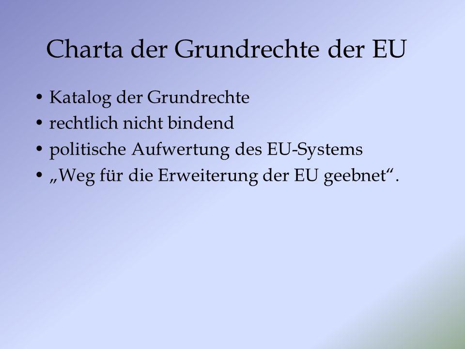 Charta der Grundrechte der EU Katalog der Grundrechte rechtlich nicht bindend politische Aufwertung des EU-Systems Weg für die Erweiterung der EU geebnet.