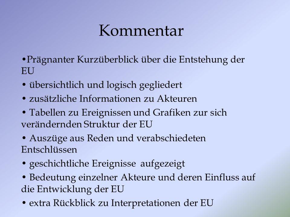 Kommentar Prägnanter Kurzüberblick über die Entstehung der EU übersichtlich und logisch gegliedert zusätzliche Informationen zu Akteuren Tabellen zu E