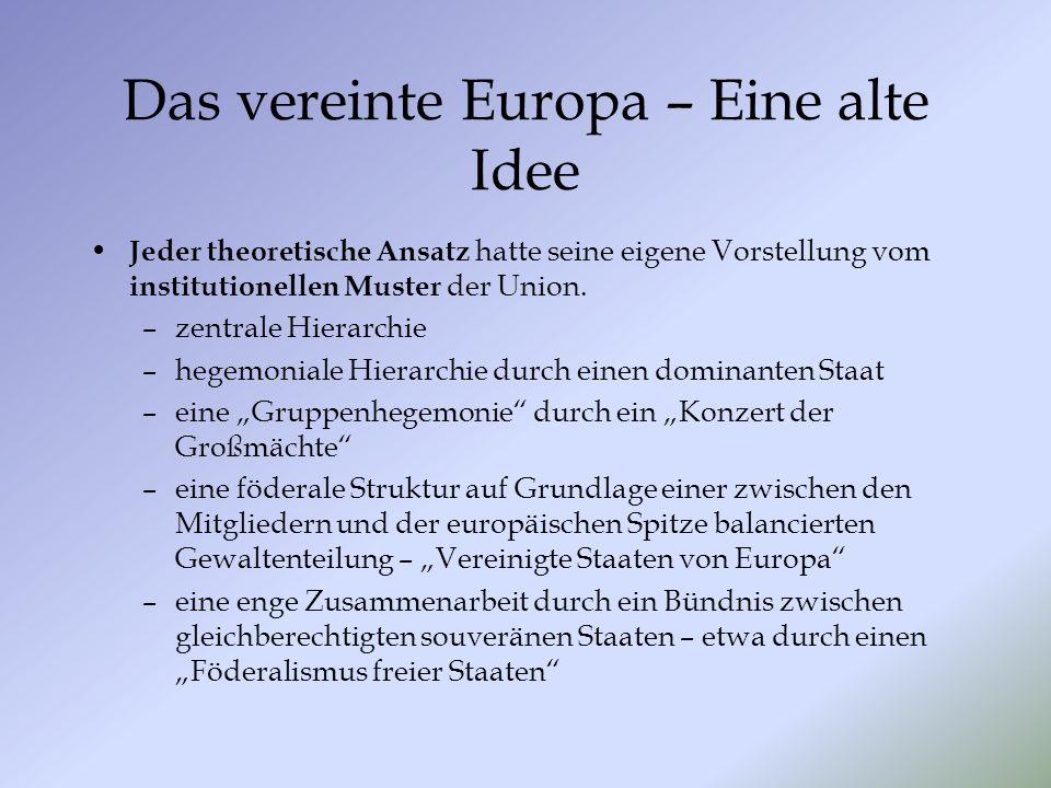 Das vereinte Europa – Eine alte Idee Jeder theoretische Ansatz hatte seine eigene Vorstellung vom institutionellen Muster der Union. –zentrale Hierarc