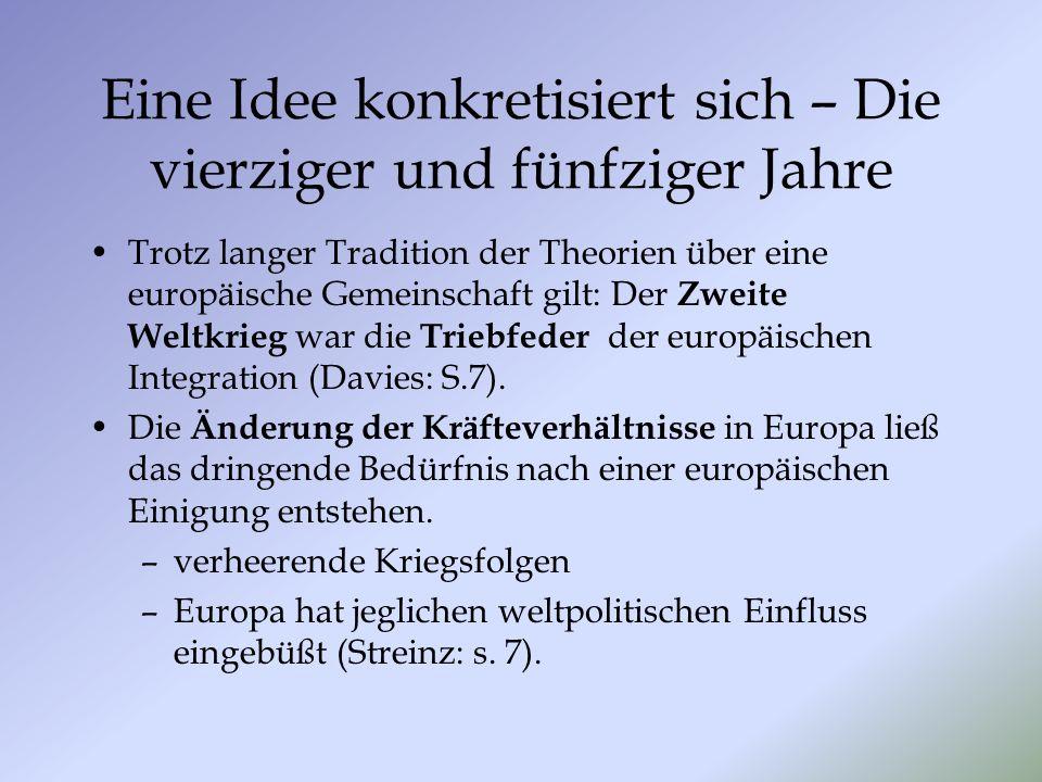 Eine Idee konkretisiert sich – Die vierziger und fünfziger Jahre Trotz langer Tradition der Theorien über eine europäische Gemeinschaft gilt: Der Zwei