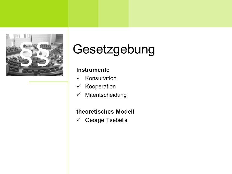 Gesetzgebung Instrumente Konsultation Kooperation Mitentscheidung theoretisches Modell George Tsebelis