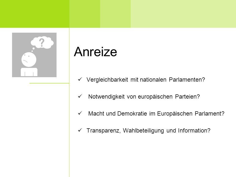 Anreize Vergleichbarkeit mit nationalen Parlamenten.