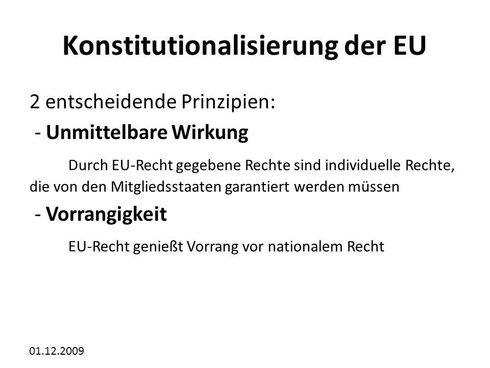 01.12.2009 Konstitutionalisierung der EU 2 entscheidende Prinzipien: - Unmittelbare Wirkung Durch EU-Recht gegebene Rechte sind individuelle Rechte, die von den Mitgliedsstaaten garantiert werden müssen - Vorrangigkeit EU-Recht genießt Vorrang vor nationalem Recht