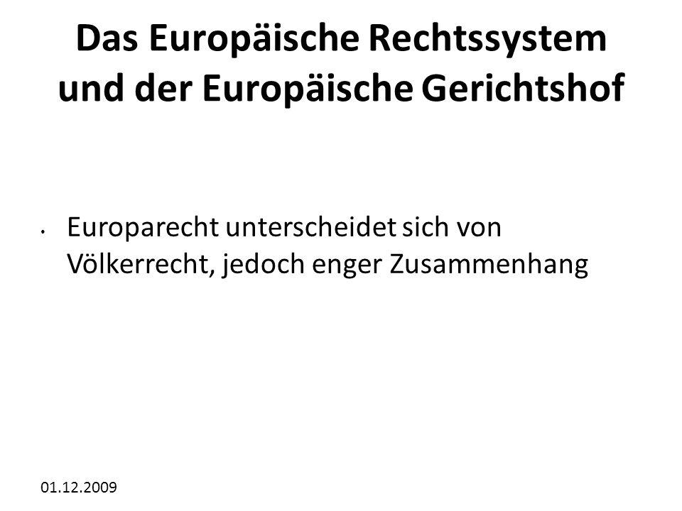 01.12.2009 Das Europäische Rechtssystem und der Europäische Gerichtshof Europarecht unterscheidet sich von Völkerrecht, jedoch enger Zusammenhang