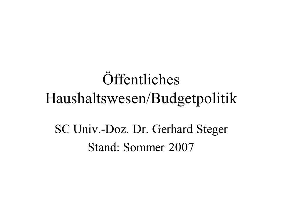 Öffentliche Haushalte in Österreich im Überblick/Saldoentwicklung je Ebene Aufteilung des Defizits auf Gebietskörperschaften (in % BIP, Rd.-Diff.; Stand März 2007): 2006 Bundessektor:-1,48 Länder:+0,25 Gemeinden inkl.