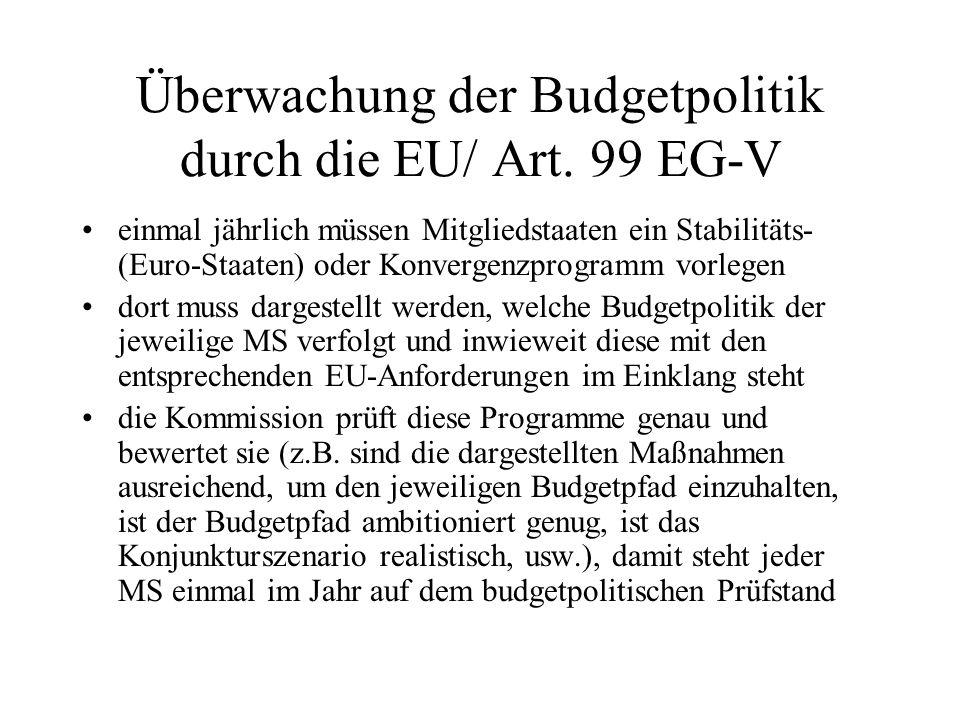 Überwachung der Budgetpolitik durch die EU/ Art. 99 EG-V einmal jährlich müssen Mitgliedstaaten ein Stabilitäts- (Euro-Staaten) oder Konvergenzprogram