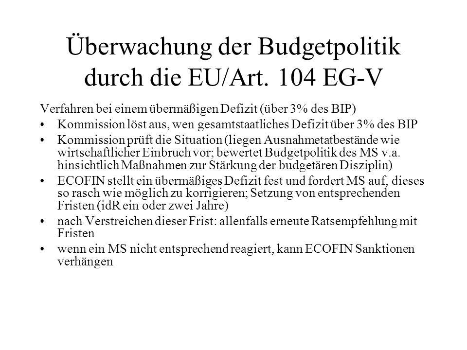 Überwachung der Budgetpolitik durch die EU/Art. 104 EG-V Verfahren bei einem übermäßigen Defizit (über 3% des BIP) Kommission löst aus, wen gesamtstaa