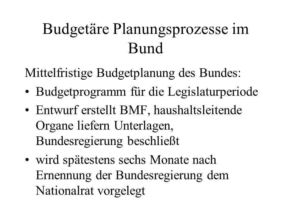 Budgetäre Planungsprozesse im Bund Mittelfristige Budgetplanung des Bundes: Budgetprogramm für die Legislaturperiode Entwurf erstellt BMF, haushaltsle