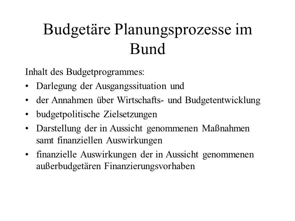 Budgetäre Planungsprozesse im Bund Inhalt des Budgetprogrammes: Darlegung der Ausgangssituation und der Annahmen über Wirtschafts- und Budgetentwicklu
