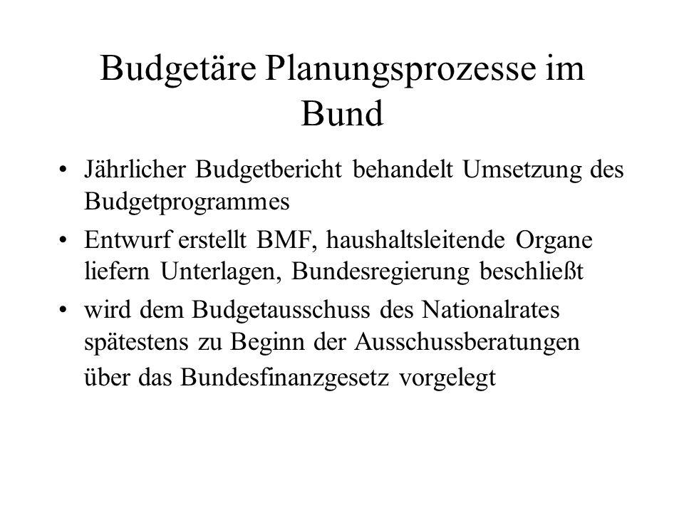 Budgetäre Planungsprozesse im Bund Jährlicher Budgetbericht behandelt Umsetzung des Budgetprogrammes Entwurf erstellt BMF, haushaltsleitende Organe li
