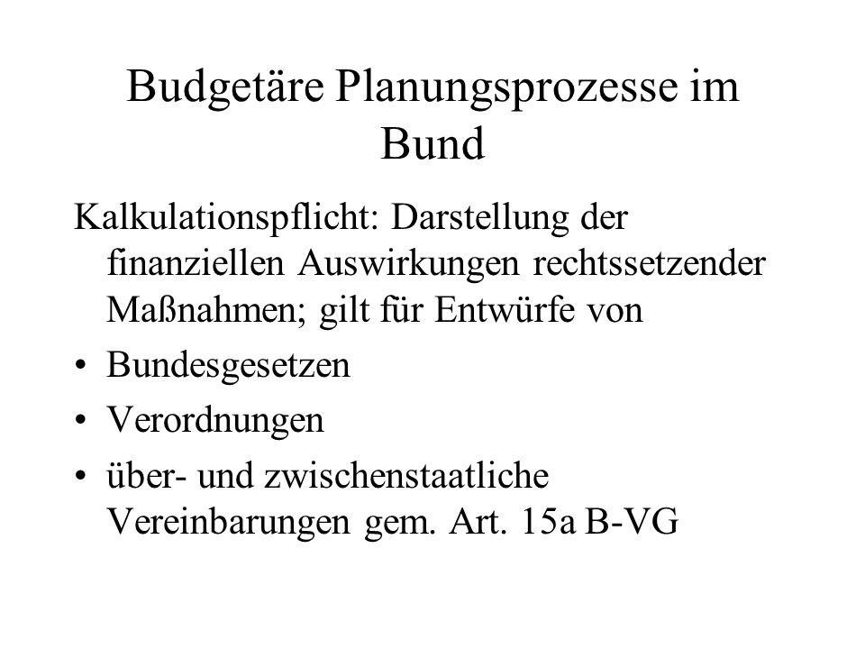 Budgetäre Planungsprozesse im Bund Kalkulationspflicht: Darstellung der finanziellen Auswirkungen rechtssetzender Maßnahmen; gilt für Entwürfe von Bun