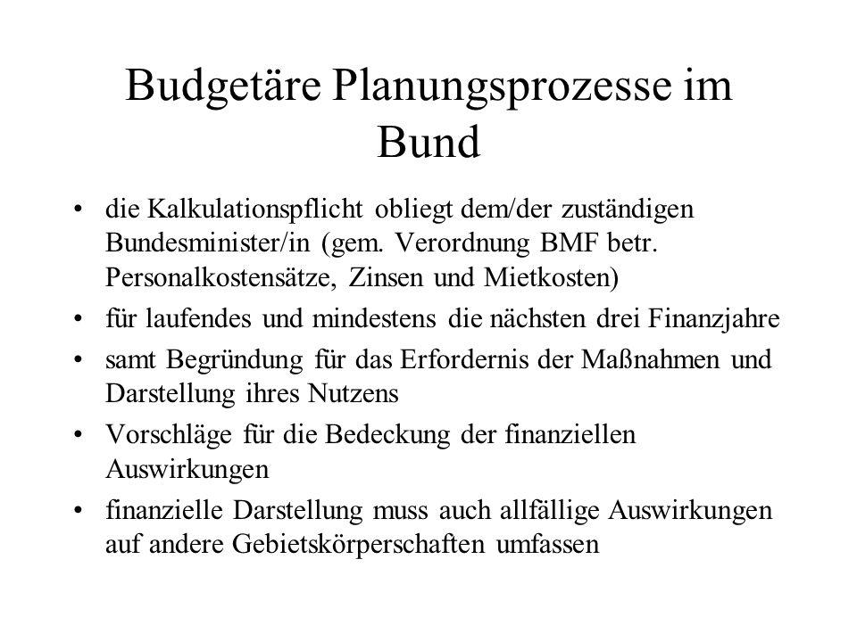 Budgetäre Planungsprozesse im Bund die Kalkulationspflicht obliegt dem/der zuständigen Bundesminister/in (gem. Verordnung BMF betr. Personalkostensätz