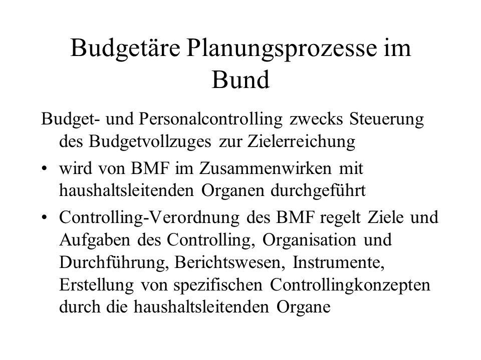 Budgetäre Planungsprozesse im Bund Budget- und Personalcontrolling zwecks Steuerung des Budgetvollzuges zur Zielerreichung wird von BMF im Zusammenwir