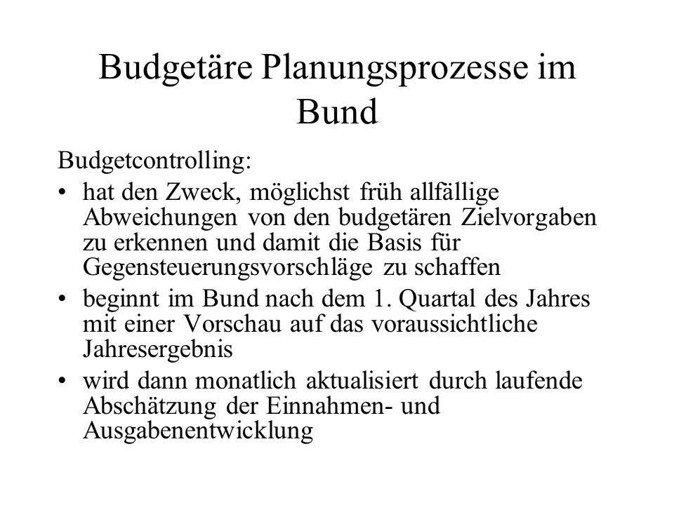 Budgetäre Planungsprozesse im Bund Budgetcontrolling: hat den Zweck, möglichst früh allfällige Abweichungen von den budgetären Zielvorgaben zu erkenne