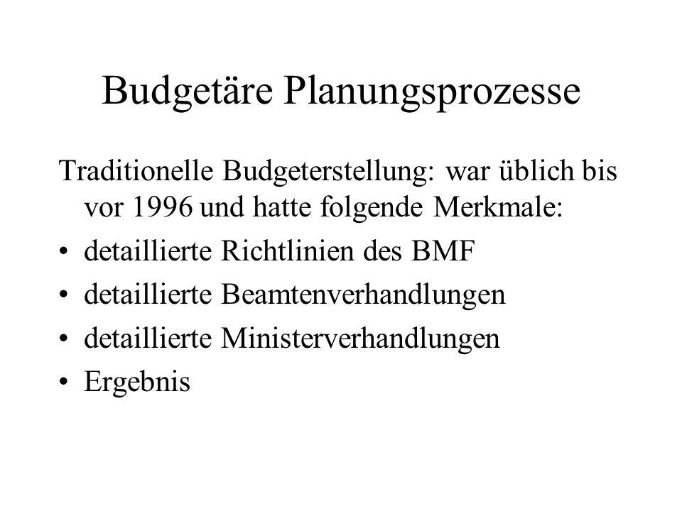 Budgetäre Planungsprozesse Traditionelle Budgeterstellung: war üblich bis vor 1996 und hatte folgende Merkmale: detaillierte Richtlinien des BMF detai